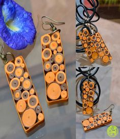 Quilling jewellery ~~~ try it with more colors and set inside a brass frame