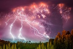 Chilean photographer Francisco Negroni has caught jaw-dropping photos of lightning strikes alongside an erupting volcano.