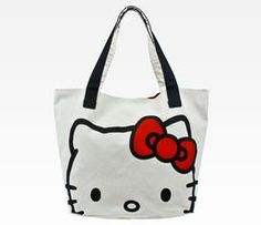 Hello Kitty Large Canvas Tote Bag: Face