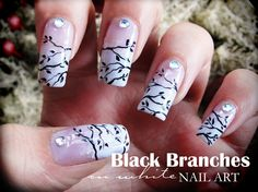 Black Branches on White  by Pinkflyingcow #nail #nails #nailart