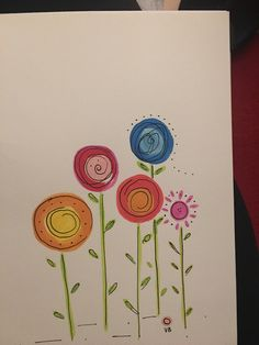 Card making for kids, easy flower drawings, watercolor flowers, watercolour painting, watercolours Easy Flower Drawings, Easy Drawings, Watercolor And Ink, Watercolor Flowers, Watercolour Painting, Card Making For Kids, Easy Flower Painting, Hand Drawn Cards, Hand Drawn Flowers