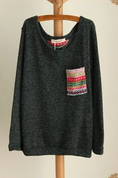 Printing Pocket Long Sleeve Jumper