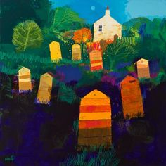The Old Beekeeper's Garden - George Birrell, mixed media, 70 x 70cm, £3,000. #10727 SOLD
