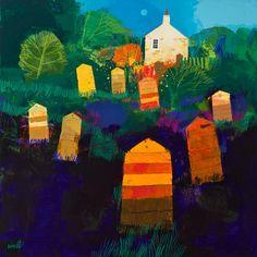 The Old Beekeeper's Garden - George Birrell, mixed media, 70 x 70cm, £3,000. #10727 SOLD