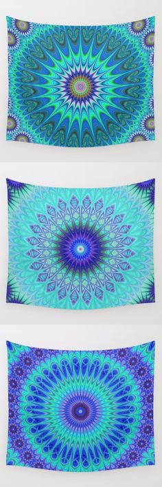 Blue mandala wall tapestry collection. Mandala - bohemian - hippie - oriental - floral - kaleidoscope tapestries - wall hangings.