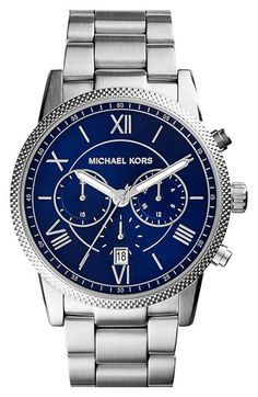 Free shipping and returns on MICHAEL Michael Kors Michael Kors 'Hawthorne' Chronograph Bracelet Watch, 42mm at Nordstrom.com. This quartz-powered watch is all about elegant balance. Genteel Roman-numeral indexes offset the sporty chronograph functions, while the embossed bezel pops against the sunray dial and satin-finish bracelet.
