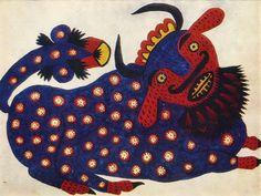 Ukrainian representative of naïve art: Maria Prymachenko -Blue Bull (1947) / Український представник наївного мистецтва: Марія Примаченко - Синій бик (1947)
