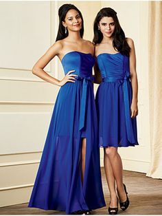 A-line Strapless Floor-Length Chiffon Wedding Party / Bridesmaid Dresses