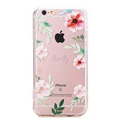 Urberry Iphone 6s Case, Iphone 6 Slim Back Cover, Transparent Rose Print Case for 4.7 Inch Iphone 6/6s with a Screen Protector