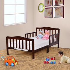 nice Baby Toddler Bed Kids Children Wood Bedroom Furniture w/Safety Rails Espresso Check more at https://aeoffers.com/product/home-and-garden/baby-toddler-bed-kids-children-wood-bedroom-furniture-wsafety-rails-espresso/