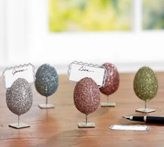 German Glitter Egg Place Card Holder, Mixed Set of 4 | Pottery Barn