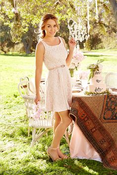The season of outdoor celebrations has arrived! A fit-and-flare dress is just the ticket for a wedding shower or engagement party. Done in a soft blush with a tonal lace overlay, this flattering frock works best with a strappy sandal—one of our essentials for spring. Shop the LC Lauren Conrad Celebrate collection only at Kohl's.