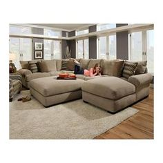 3-Piece Sectional Sofa and Ottoman in Bacarat Taupe | Nebraska Furniture Mart