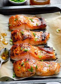 Clean Eating Diet Baked Thai Salmon - Thai Honey Glazed Chicken w/ Sriracha Mayo - (Free Recipe below) Thai Baked Salmon Recipe, Seafood Recipes, Mexican Food Recipes, Mexican Meat, Fruit Recipes, Fish Recipes, Bacon Recipes, Easter Recipes, Chicken Recipes