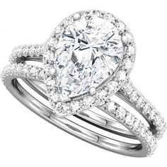engagement rings with thick bands   ... -Style Pear Shaped Engagement Ring With Matching Band For a 1.00ct