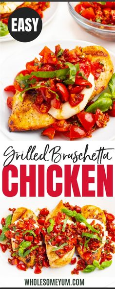 With balsamic tomato topping and gooey cheese, grilled bruschetta chicken makes a fast and fresh meal in under 30 minutes! #wholesomeyum Low Carb Chicken Recipes, Low Carb Dinner Recipes, Keto Chicken, Grilled Bruschetta Chicken Recipe, Ketogenic Recipes, Keto Recipes, Fast Low Carb, Dieting Foods, Foil Packets