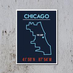 "CHICAGO - Map Art Poster - Typography Print - 18"" x 24"". $35.00, via Etsy."
