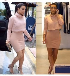 Love this blush outfit from kim kardashian