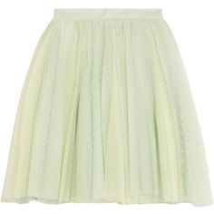 REDValentino Gathered point d'esprit mini skirt ($185) ❤ liked on Polyvore featuring skirts, mini skirts, mint, pleated mini skirt, mint mini skirt, mint skirt, gathered skirt and mint green skirt