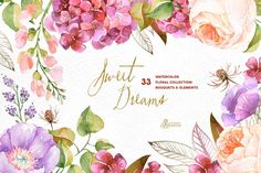 Sweet Dreams. Floral Collection by OctopusArtis on @creativemarket