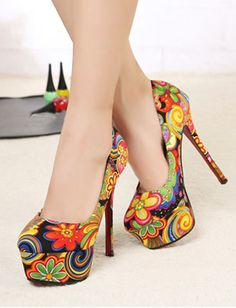 boho fashion for women over 40   Bohemian Style Floral Printed Colorful Platform Stiletto Pumps For ...