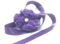 Dark purple head or hand band by AGDesignCreatif on Etsy
