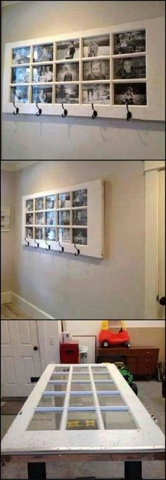 A great place to display photos, a good, usable shelf, lots of coat hooks AND it's made from a repurposed door!  All hooks ... pinned with Pinvolve - pinvolve.co