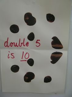 A great way to demonstrate doubling. Simply put dobs of paint on one side of the paper and then fold over and push. When open the dots will be doubled! Great for kindergarten (prep) and pre-school demonstrations Foundation Maths, Foundation Stage, Doubling And Halving, Math Doubles, Daily 3 Math, Math Addition, Addition Worksheets, Early Years Maths, Eyfs Activities