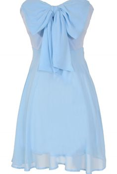 Oversized Bow Chiffon Dress in Sky Blue  www.lilyboutique.com