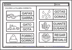 MATERIALES - Fichas de lectoescritura - G.    Fichas para el aprendizaje de la lectoescritura en letra mayúscula.    http://arasaac.org/materiales.php?id_material=983