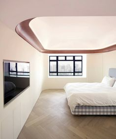 Image 11 of 15 from gallery of Jardines Lookout Flat / AFFECT-T. Photograph by Luke Hayes Teen Room Designs, Interior Design Awards, Interior Designing, Classic Ceiling, Small Home Offices, False Ceiling Design, Contemporary Apartment, Traditional Bedroom, Fireplace Design