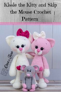 Kissie the Kitty and Skip the Mouse crochet pattern. This an adorable Amigurumi crochet pattern! #kitties #crochetcats #crocehtkitties #crochet #amigurumi #ad