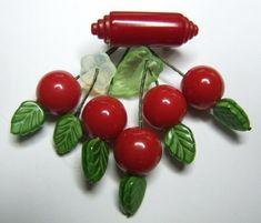 Vintage Cherry Bakelite Pin
