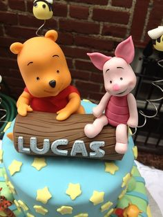 #Disney, Winnie the Pooh & Piglet, #cake #toppers, cold porcelain.
