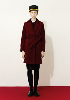 "2014 PRE FALL COLLECTION Theme HOTEL MAN Cordinate ""Hotel""Gown coat:MW42FC001 Simple shirt blouse:MW42FB001 Leather skirt:MW42LS001 Shoes:Sa..."