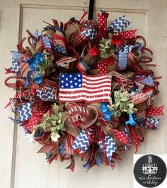 Red white and blue American flag burlap wreath Fourth of July Memorial Day Labor Day Veterans Day