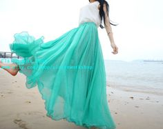 Summer Beach long skirts maxi skirt pleated skirt women dresses Teal Skirt Chiffon Skirt in AQUA light green skirts Bohemian Style