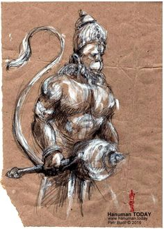 Saturday, February 27, 2016     Daily drawings of Hanuman / Hanuman TODAY / Connecting with Hanuman through art / Artwork by Petr Budil [Pritam] www.hanuman.today