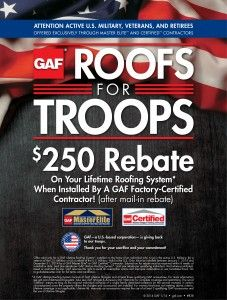 Currently we are very excited to say we are involved in a GAF program dedicated to giving back to our troops!
