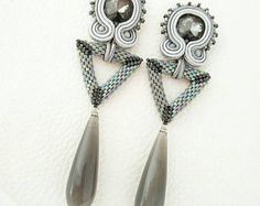 Soutache earring with peyote triangle