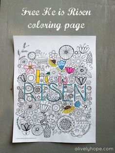 "Beautiful free ""He is Risen"" Easter coloring page from A Lively Hope."