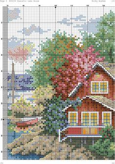 Ponto cruz casa na baía Funny Cross Stitch Patterns, Cross Stitch Charts, Cross Stitch Designs, Cross Stitching, Cross Stitch Embroidery, Embroidery Patterns, Cross Stitch House, Cross Stitch Landscape, Cross Stitch Collection
