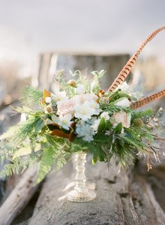 Whimsical Centerpiece | More Wedding #Inspiration on SMP: http://www.StyleMePretty.com/2014/01/29/winter-engagement-inspiration/ Adrian Michael Photography