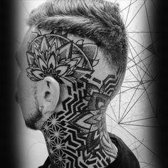 Head Tattoos For Men - Masculine Ink Design Ideas Geometric Guys Pattern Flower Tattoo On HeadGeometric Guys Pattern Flower Tattoo On Head Hand Tattoos, Unique Tattoos, Cool Tattoos, New Tattoos, Hals Tattoo Mann, Tattoo Hals, Geometric Tattos, Geometric Tattoo Design, Mandala Tattoo Mann