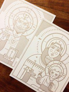 Orthodox Christ & Virgin with Child [Set] - Letterpress Print