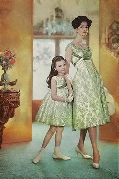 Meredith. Brings back memories of mom and I.  Mother-daughter designs by Ceil Chapman, 1959.