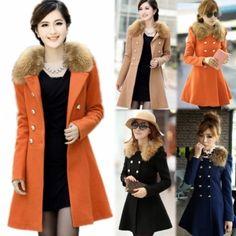 New Women Woolen Winter Trench Double Button Fur Collar Coat