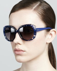 Rounded Flower Sunglasses, Blue by Dior at Neiman Marcus.