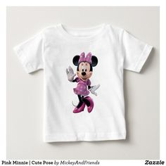 Baby T-Shirt ay, This t-shirt is Made To Order, one by one printed so we can control the quality. Disney Baby Clothes, Disney Outfits, Baby Disney, Kids Outfits, Minnie Mouse Gifts, Mickey Mouse, Pink Minnie, Cute Poses, Trendy Kids