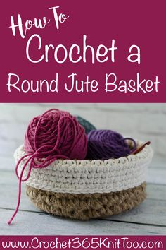 Crochet Round Jute Basket - Crochet 365 Knit Too Crochet Round, Crochet Home, Bead Crochet, Free Crochet, Crochet Pet, Crochet Basket Pattern, Crochet Patterns, Crochet Baskets, Crochet Ideas